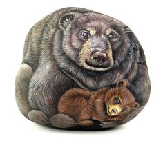 Bear and cub - painted rock
