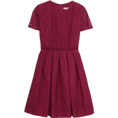 Burberry Corded cotton-blend lace dress ($539) ❤ liked on Polyvore featuring dresses, burberry, robes, vestidos, claret, lace cocktail dress, lace party dresses, purple party dresses, lace dress and party dresses