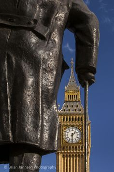 Winston Churchill with Big Ben beyond, London England. © Brian Jannsen Photography