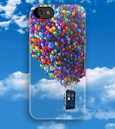 Tardis doctor who fly with baloons apple iphone 5, iphone 4 4s, iPhone 3Gs, iPod Touch 4g case UP!