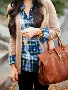 Plain cardigan, plaid shirt with brown leather handbag