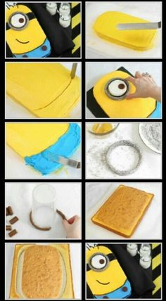 Despicable Me Minion Cake ~ I made two of these Minion cakes for my daughter's birthday party & they looked really good! Clear & easy instructions!