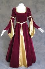 Apr 2020 - Burgundy Velvet Dress with Gold Satin Renaissance Gown Costume Medieval Gown, Renaissance Dresses, Medieval Costume, Renaissance Fashion, Medieval Clothing, Gypsy Clothing, Under Dress, Diy Dress, Gown Dress