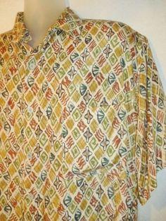 Men's ROBERT STOCK Camp 100% SILK Shirt Pocket Short Sleeve Geometric L #RobertStock #ButtonFront