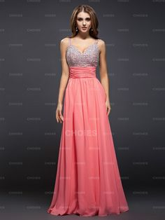 Nice Sheath/Column Spaghetti Straps Sleeveless Beading Floor-Length Chiffon Prom Dresses - Choies.com