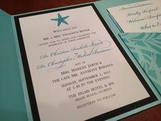 Beach theme wedding invitation by Izzy Designs