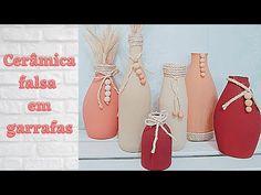 COMO DECORAR GARRAFAS COM EFEITO CERÂMICA, PASSO A PASSO CERÂMICA FALSA!! - YouTube 3 D, Decoupage, Mason Jars, Espadrilles, Pets, Youtube, Craft Videos, Decorative Bottles, Bottle Crafts