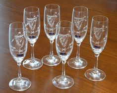 "Box Set of 6 Vintage Wine Glasses 6 oz Etched #Harp #Shamrock Duiske #Ireland 8"""