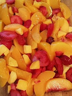 PEACHES, MANGO, AND STRAWBERRIES.