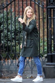 Sienna Miller wearing Reebok Classic Leather Sneakers in White and Barbour  Jacket Reebok White Sneakers ba4ace081