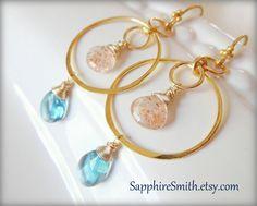 SUN & SEA Gemstone Earrings Paraiba Blue Fluorite by SapphireSmith