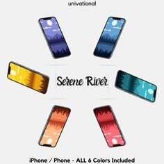 Serene River iPhone Wallpaper Bundle in 6 Colors, Phone Wallpaper, iPhone Background, Phone Background, Android Wallpaper