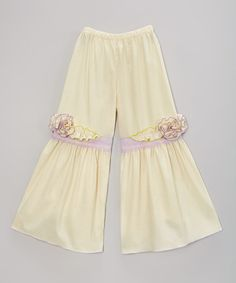 Look at this #zulilyfind! Ivory & Purple Floral Palazzo Pants - Infant, Toddler & Girls #zulilyfinds