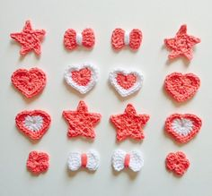 16 pcs Crochet Appliques White and Salmon 100 % Recycled Cotton Yarn