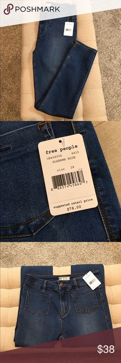 """Free People Beverly High Rise Skinny Jeans New with tag. Exclusive Free People Skinny, sold only through Free People. See pics of website. Almost sold out. Retail $78. Size 28. Waist 15"""" Inseam 28"""". Color is Alabama Blue😍 53% Cotton 23% Rayon 22% Polyester 2% Spandex. No lowball offers. Price is firm. Bundle for discount. 😊🌹 Free People Jeans Skinny"""