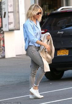 Zen: Sienna looked in relaxed spirits as she soaked up the sights of the American fashion capital