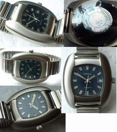 NEW OLD STOCK RECORD BLUE FACE GENTS RETRO WATCH S/STEEL CIRCA 1970  RECORD A SISTER COMPANY OF LONGINES WATCH IN VERY NICE AND ORIGINAL CONDITION HAS NOTBEEN USED IT ALSO HAS A RUBBER STRAP , HAS DATE, AND IS AUTOMATIC,AND STAINLESS STEEL BACK AND CHROME CASE, A BEAUTIFUL WATCH FOR THE MAN WHO LIKES OR COLLECTS FUNKY 60s-70s WATCHES. CIRCA 1970 IN CLEAN CONDITION FOR ITS AGE, , ORIGINAL BUTTON READY TO WEAR.