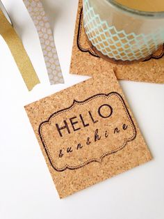 These Hello Sunshine Coasters are the perfect addition to your spring decor. They are sure to brighten up even the darkest of spaces and bring smiles to those around.