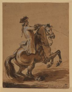 """Horse and Rider"" by John Vanderbank (18th century) at the Courtauld Gallery, London"