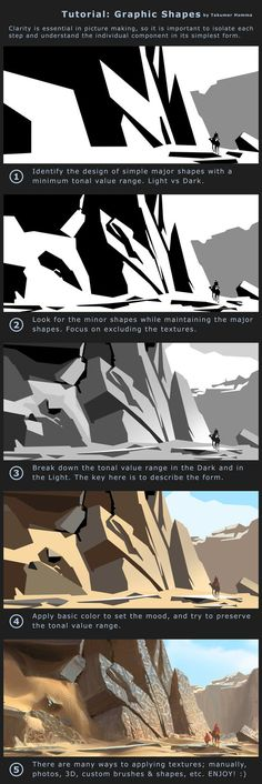 Tutorial: Simple Shapes by Takumer. on Tutorial: Simple Shapes by Takumer. Digital Painting Tutorials, Digital Art Tutorial, Art Tutorials, Digital Paintings, Landscape Drawing Tutorial, Landscape Drawings, Landscape Art, Painting Process, Process Art