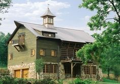 """BARN HOUSE - A century old barn was meticulously documented, disassembled and transported as a """"kit of parts"""" from Pennsylvania to a 30 acre site in Alabama. I sure would love to live here in this great barn home ; Country Barns, Old Barns, Country Life, Country Living, Country Houses, Architecture Design, Southern Architecture, Green Barn, Converted Barn"""
