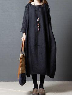 Italy Boutique Wolle Lagenlook Tunika Kleid Schöner Druck Taschen Warm