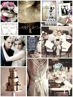 1920's wedding inspiration collage.  Love all these ideas, especially the dress back on the bottom.