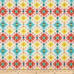 This indoor/outdoor fabric is stain and water resistant, very family friendly and perfect for outdoor settings and indoors in sunny rooms. It is fade resistant up to 500 hours of direct sun exposure. Create decorative toss pillows, cushions, chair pads, place mats, tote bags, slipcovers and upholstery. Colors include turquoise, red, orange, yellow and ivory.