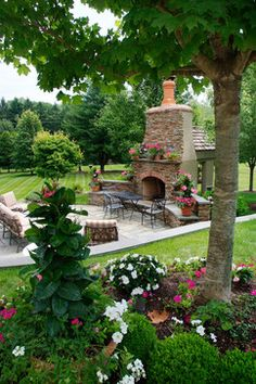 Great entertaining area with fire place outside!  French Country Estate.