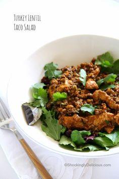 Healthy Turkey Lentil Taco Salad Recipe for #WeekdaySupper