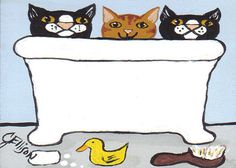 Cats Kitties in Bathtub Bath Time with Yellow by JEllisonArt, $3.50