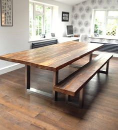 Wood & steel dining table and matching bench by MacAndWood on Etsy, £1,900.00