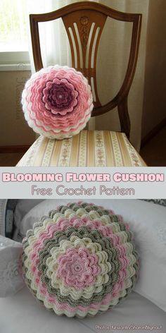 Blooming Flower Cushion Free Crochet Pattern by bertha Crochet Pillow Patterns Free, Crochet Flower Patterns, Crochet Motif, Crochet Designs, Free Crochet, Free Pattern, Pattern Flower, Free Knitting, Crochet Blocks