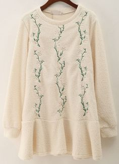 Apricot Long Sleeve Leaves Embroidered Dress 21.33