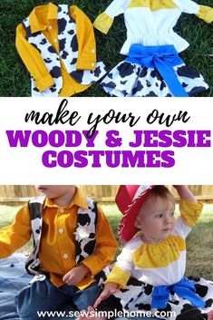 Sew up your own adorable DIY Woody and Jessie Costumes with this tutorial Woody And Jessie Costumes, Woody Costume, 31 Days Of Halloween, Halloween Projects, Halloween Costumes, Fall Sewing, Patterned Jeans, Sporty Girls, Yellow Fabric