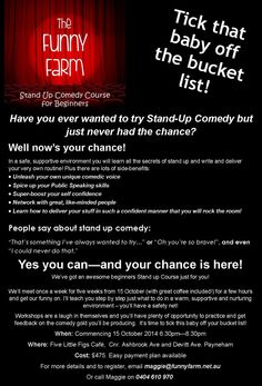Details of the Comedy Course for Beginners - only three places left!