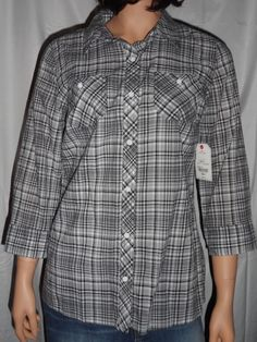 St Johns Bay Shirt Knit Top Womens New Size Small Black White Plaid Button