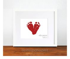 Valentines Day Gift for New Dad - Red Heart Baby Footprint Art - Gift for New Grandma - Personalized Love Gift for Grandparents. $25.00, via Etsy.