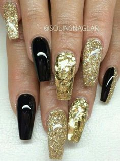 Shattered glass and glitter nail art on coffin nails