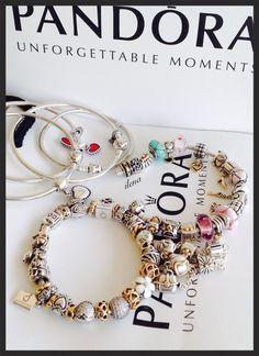 Silver and gold Pandora charms. Pandora bangle bracelet. ilena.
