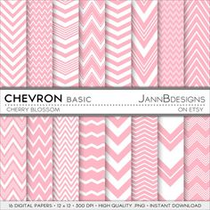 Cherry Blossom CHEVRON  BASIC Digital Paper Pack  by JAnnBdesigns