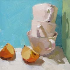 Cornered, by Carol Marine. Apples and cups - just devine!