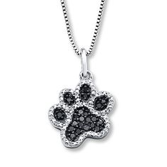 Black/White Diamonds  1/5 ct tw Paw Necklace Sterling Silver- I WANT this necklace!