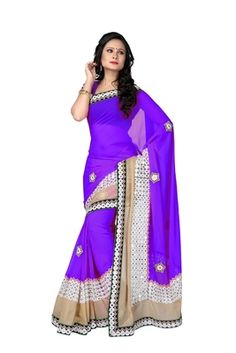 Purple Embroidery Pure Georgette Saree With Blouse Sarees on Shimply.com