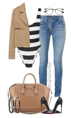 """""""Stripes"""" by highfashionfiles on Polyvore featuring Yves Saint Laurent, Norma Kamali, Zara, Givenchy, Christian Louboutin and Ray-Ban"""
