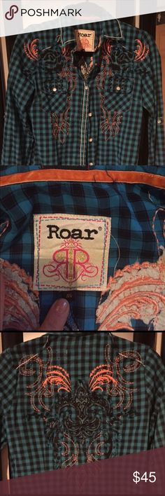 Roar Shirt Amazing Roar Shirt size Medium. Beautifully detailed and stitched as expected from the Roar brand. Great condition. ❤️ Blue, Orange and Black. Roar Tops Button Down Shirts