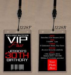 ANY AGE BIRTHDAY VIP PASS INVITATION & LANYARD - DOUBLE SIDED - 1228