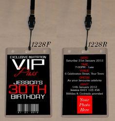 ANY AGE BIRTHDAY VIP PASS INVITATION & LANYARD - DOUBLE SIDED - 1228