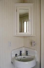 Look!: Beadboard Effect Paintable Wallpaper Corner Mirror, Corner Sink Bathroom, Bathroom Mirror Cabinet, Mirror Cabinets, Small Bathroom, Bathroom Beadboard, Bathroom Ideas, Budget Bathroom, Bathroom Cabinets