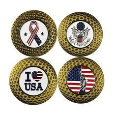 Magnetic Golf Ball Marker Poker Chip Pitch Mark USA Flag